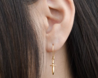 Tiny Dagger Dangle Earrings, Sterling Silver, Gold Plated, Pendulum Earrings, Minimalist Drop Earrings, Lunaijewelry,  Gift for Mom, DGE002