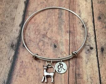 Cat initial bangle- cat jewelry, silver cat bracelet, gift for cat lover, feline jewelry, cat pendant, pet cat bracelet