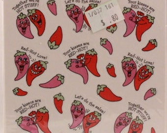 Hallmark Hot Pepper Valentine Stickers. 4 Sheets in Sealed Package