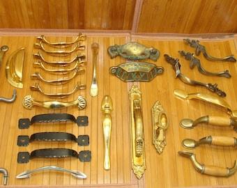Vintage handle lot-old furniture hardware bundle-brass metal door pulls