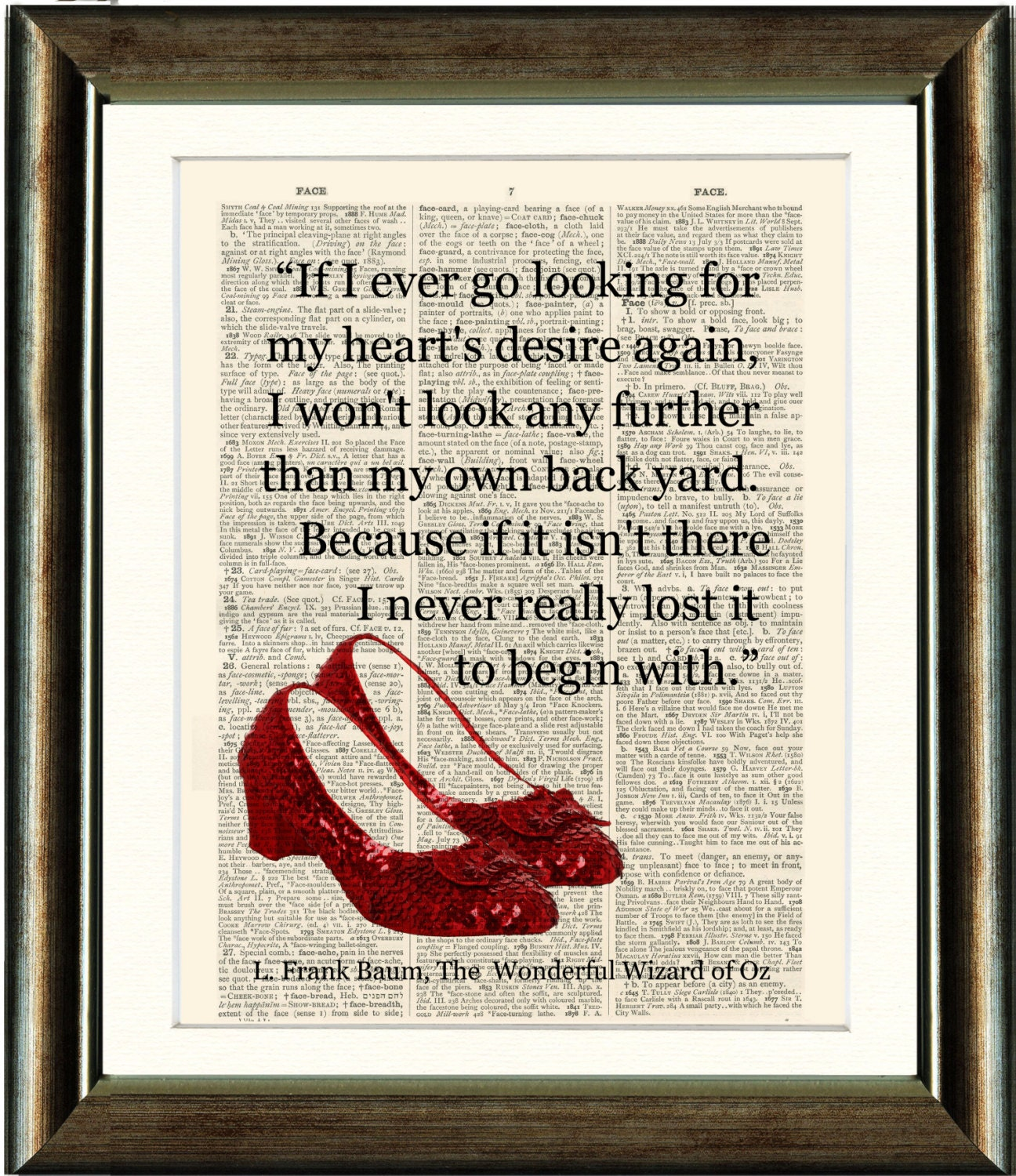 Ruby Slippers/Wizard of Oz Heart Quote vintage book page