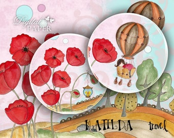 Matilda Travel - 2.5 inch circles - set of 12 - digital collage sheet - pocket mirrors, tags, scrapbooking, cupcake toppers