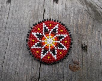 morningstar pin, native american beadwork