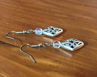 Silver Earrings With Bead Dangle Earrings Gift Earrings Womans Earrings Crystal Bead