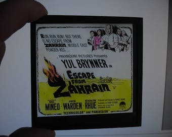 Vintage Cinema Advert - Hand Tinted Glass Lantern Slide. ~ Yul Brynner in ZAHRAIN ~ 1962