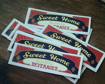 10 Small Vintage Sweet Home Beverage Labels, Sanitary Bottling Works, Indiana