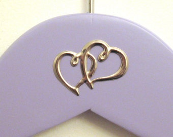 Two Hearts Add-On, Silver Tone - Custom Bridal Hanger Addition - Suspended Moments