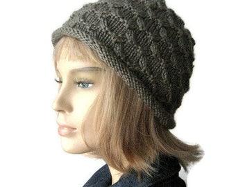 Knit Lichen Green Hat Cross Stitch Knit Beanie Womens Hat Fall Fashion Knitted Hat Lichen Green Knit Hat