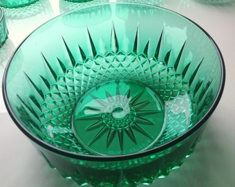 Arcoroc Emerald Green Glass Bowl, Made in France