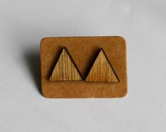Plywood Laser Cut Triangle Stud Earrings