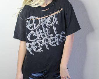 Distressed and Pinned Red Hot Chili Peppers Tee