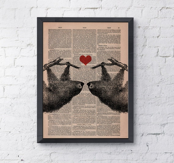 Vintage book print Sloths in love Sloth couple with  Red heart Printed on Vintage Book sheet  Nursery wall art ANI068