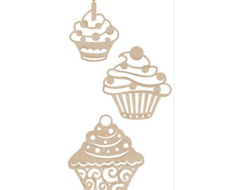 Wooden Cupcake Flourishes by Kaisercraft, Baking Theme  Veneers