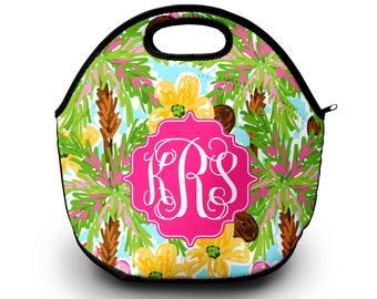 Monogrammed Lunchbox, Monogram Lunch Bags Insulated Neoprene, Monogram Lunch Bag, Personalized Lunch Tote,  Lunch Bag for Women