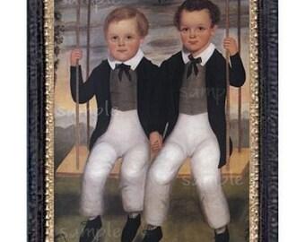 Folk Art Boys Miniature Dollhouse Art Picture 6029