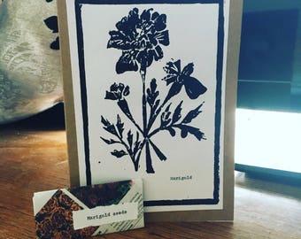 Marigold Lino print card