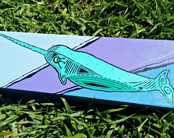 Narwhal acrylic painting on canvas