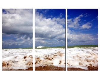 Fort Pierce Ocean Waves Florida Beach Canvas Triptych, 3 Panel Fine Art, LARGE, Ready to Hang