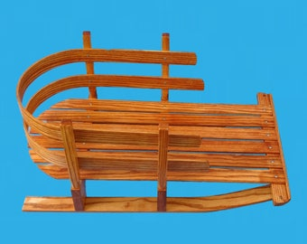 hand made sled-ash wood boiled and bent to shape,stained and poly added-sled 1