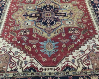 Genuine hand knotted Heriz Serapi in rust color. made in India, 100% premium wool pile. Brand new 8'x10'