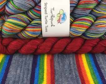 What Does It Mean? - With Red Heel and Toe - Ready to Ship by May 4th - Hand-Dyed Self-Striping Sock Yarn