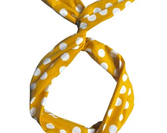 Yellow and White Polka Dot Wire Headband by Byrd
