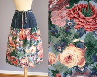 Vintage 80s Denim Skirt FLORAL Skirt High Waist Soft GRUNGE Romantic Hipster Boho Indie Preppy New Wave Blue Jeans Midi Skirt Jordache Pink