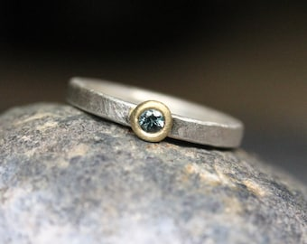 Simple Modern Sapphire Engagement Ring 18K Yellow Gold Silver Blueish or Greenish Genuine Gemstone Minimalist Bridal Band - Cerulean Circle