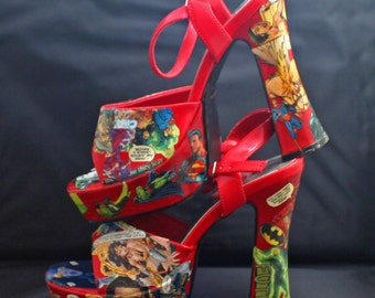 Sexy Decoupaged Justice League High Heel Sandals Wmns Sze 9 Bright Red DC Comics Heels Superhero