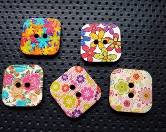 5 colorful patterns square shape wooden buttons