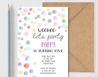 Birthday Invitation, Kids Party, DIY Printable Invitation, Confetti, Rainbow, Glitter, Girls Birthday, Colourful, Pretty, Stationary, Invite