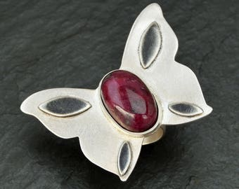 Butterfly Boho Ring, Sterling Silver Ring, Red Ruby Ring, Gemstone Ring, Statement Ring, Red Stone Ring, Unique Handmade Ring, Boho Jewelry