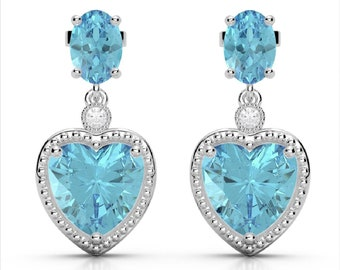 GORGEOUS Sky Blue Topaz Heart Earrings, Perfect Size!