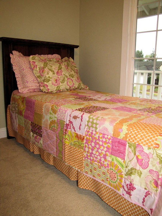 64x80 Custom Order Twin Quilt in Random Pattern You Choose Fabrics
