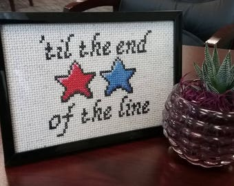 Captain America- Til the End of the Line Cross Stitch- FRAMED