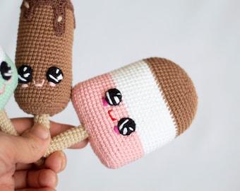 Crochet baby toy Ice cream , raspberry / pistachio / chocolate Ice cream Amigirumi Play Food, Plush  sweets, Baby shower gift