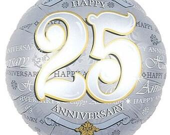 25th Anniversary Mylar Foil Balloon