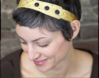 PDF Sewing Pattern and Tutorial for Upcycled Necktie Headband (Elastic Version) with Button Detail for Women Instant Download