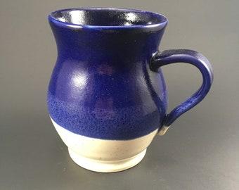 Pottery mug blue and white
