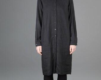 Black handmade linen shirt dress with pockets