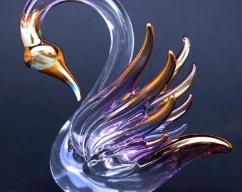 Schwan Figur mundgeblasene Glas Gold Kristall-Skulptur