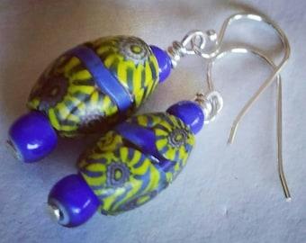 Antique Venetian Millefiori  Chevron Art Glass cobalt blue and yellow Tradebead Earrings