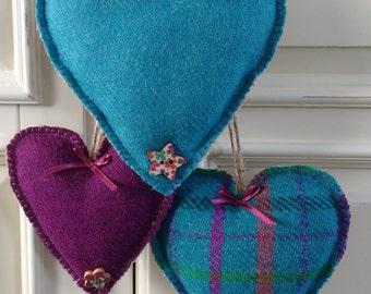 Harris Tweed Hearts - Set of three