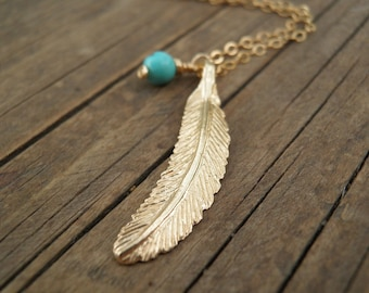 Gold Turquoise Necklace, LONG Gold Necklace, Gold Feather Necklace, Feather Jewelry, Minimalist  Pendant, Delicate 14k Gold Fill Necklace
