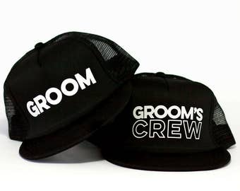 Groom Trucker Hat & Grooms Crew Trucker Hats | Bachelor Party Hat | Groomsmen Hats | Bridal Party Trucker Hat | Groom Trucker Hat | Wedding
