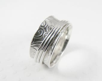 Sterling Silver Spinner Ring, Patterned Embossed Meditation Ring, Fidget Ring, Worry Ring