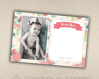 Shabby Chic Thank You Card with Photo