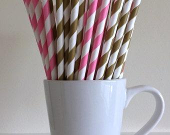 Pink and Dark Gold Striped Paper Straws Party Supplies Party Decor Bar Cart Cake Pop Sticks Mason Jar Straws Graduation