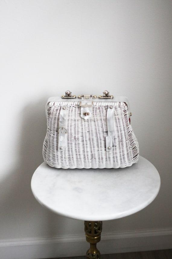 1970s white wicker Handbag // 1960s handbag // vintage purse