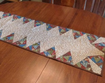 """Country/Primitive/Farmhouse Quilted~Tangled Triangles~42"""" x 14"""""""